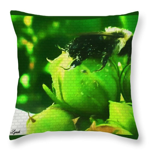 Bumble Throw Pillow featuring the mixed media Just A Short Nap Please by Debra Lynch