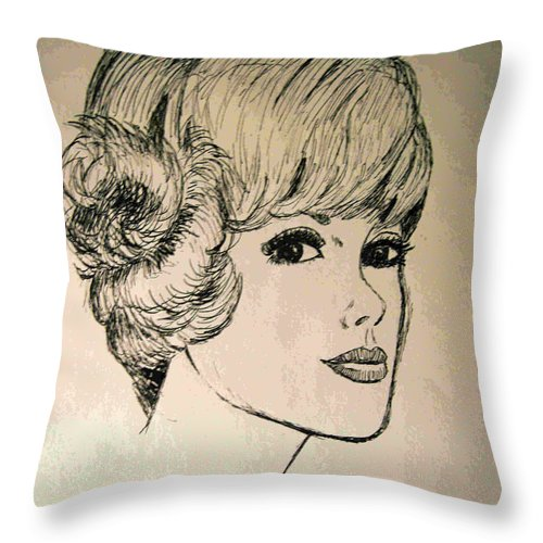 2d Throw Pillow featuring the drawing Just Another Pretty Face by Brian Wallace