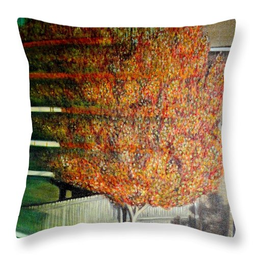 Fall Throw Pillow featuring the painting Just Before Fall by Usha Shantharam
