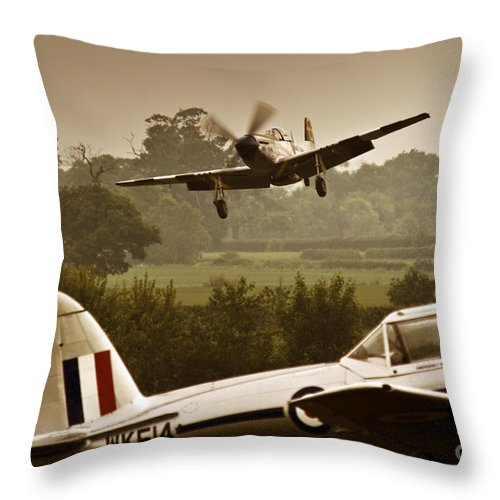 Aircraft Throw Pillow featuring the photograph Just Before Landing by Angel Ciesniarska