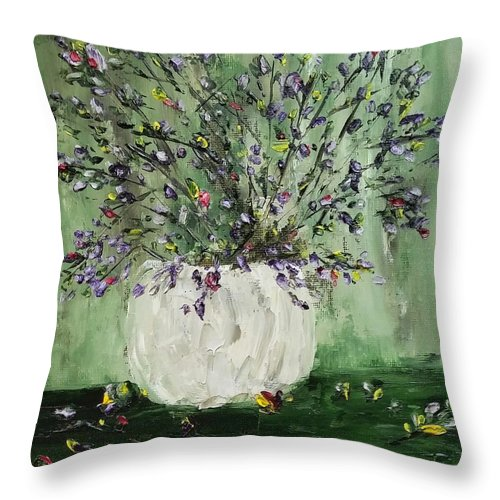 Oil Painting Throw Pillow featuring the painting Just Beginning To Bloom by Sallie Wysocki
