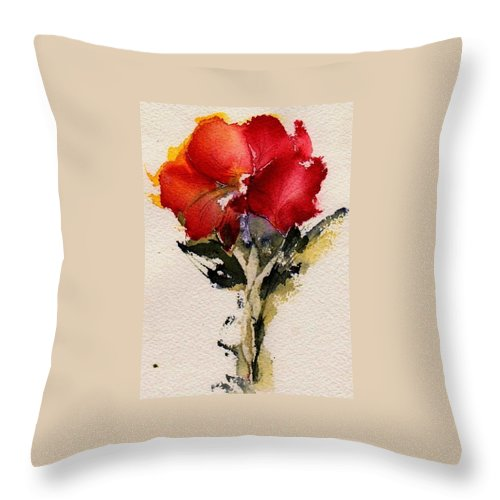 Flower Throw Pillow featuring the painting Just Bloomed by Anne Duke