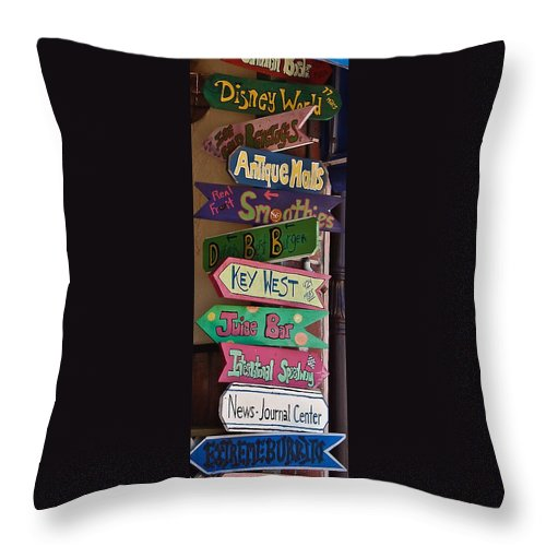 Signs Throw Pillow featuring the photograph Just Follow The Signs by DigiArt Diaries by Vicky B Fuller