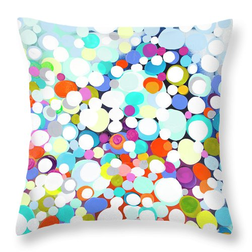 Abstract Throw Pillow featuring the painting Just For Fun by Claire Desjardins
