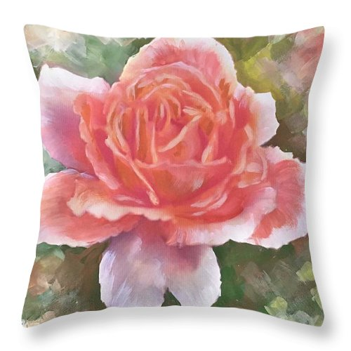 Just Joey Rose Throw Pillow featuring the painting Just Joey Rose From The Acrylic Painting by Ryn Shell