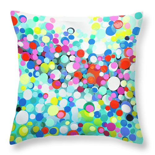 Abstract Throw Pillow featuring the painting Just Let It by Claire Desjardins
