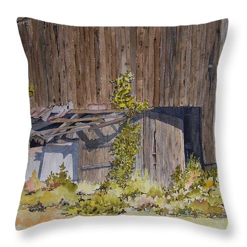 Barn Throw Pillow featuring the painting Just Listen To The Silence by Jackie Mueller-Jones