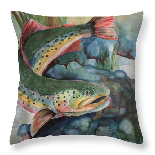 Canvas Prints Throw Pillow featuring the painting Just Looking by Donna Steward