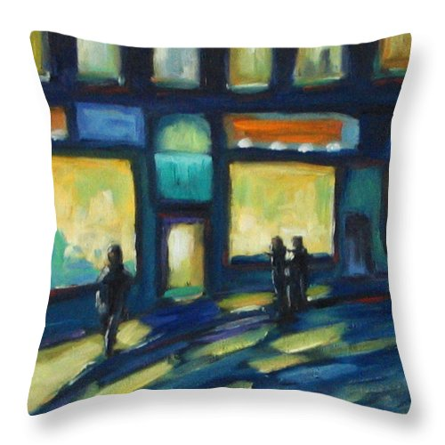 Town Throw Pillow featuring the painting Just Looking by Richard T Pranke