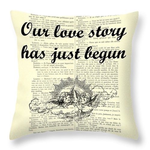 Just Married Throw Pillow featuring the digital art Just Married Wedding Gift by Madame Memento