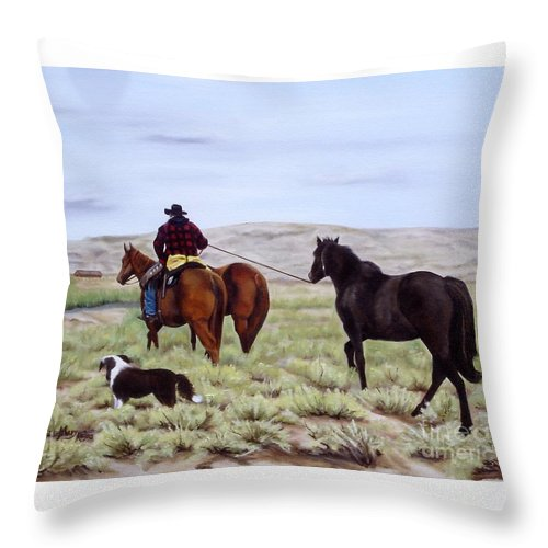 Art Throw Pillow featuring the painting Just Might Rain by Mary Rogers
