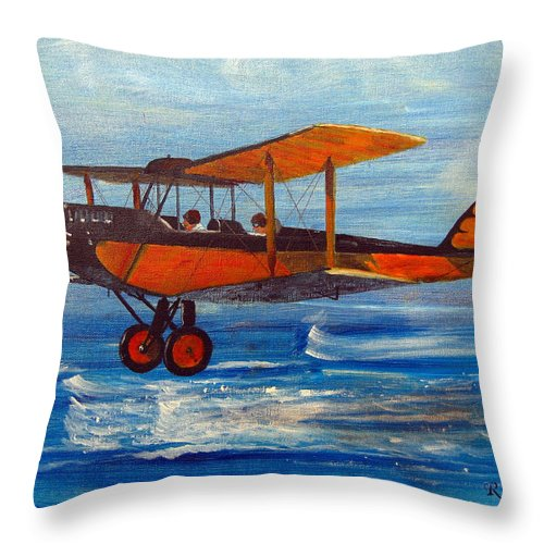 Biplane Throw Pillow featuring the painting Just Off The Water by Richard Le Page