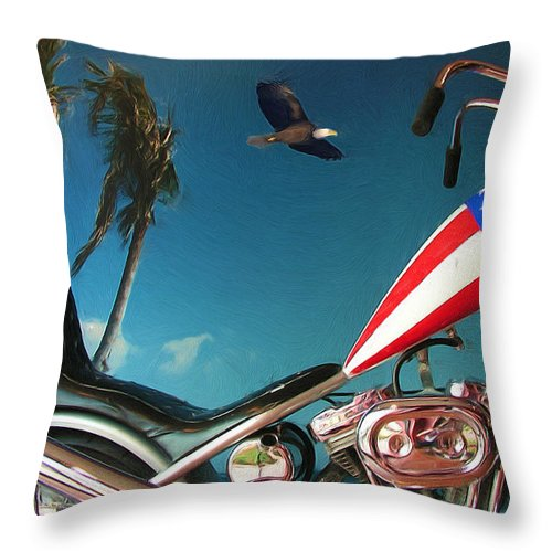Motorcycle Throw Pillow featuring the painting Just Ride by Kenneth Krolikowski