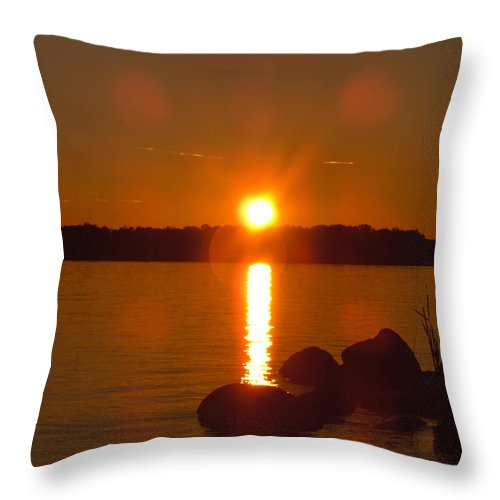 Beach Lake Rock Reeds Water Sky Throw Pillow featuring the photograph Just Rock by Andrea Lawrence