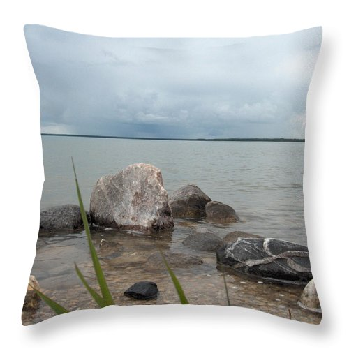 Rocks Water Lake Sky Nature Clouds Throw Pillow featuring the photograph Just Rocks by Andrea Lawrence
