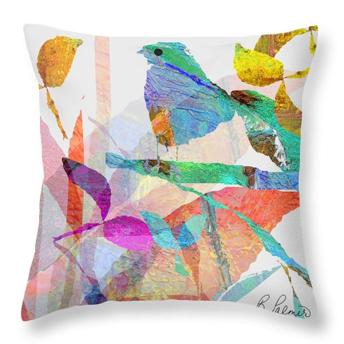 Bird Throw Pillow featuring the mixed media Just Sittin by Ruth Palmer