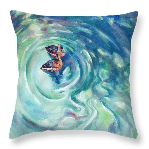 Ducks Throw Pillow featuring the painting Just Swimming by Ekaterina Mortensen
