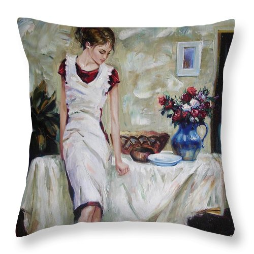 Figurative Throw Pillow featuring the painting Just The Next Day by Sergey Ignatenko