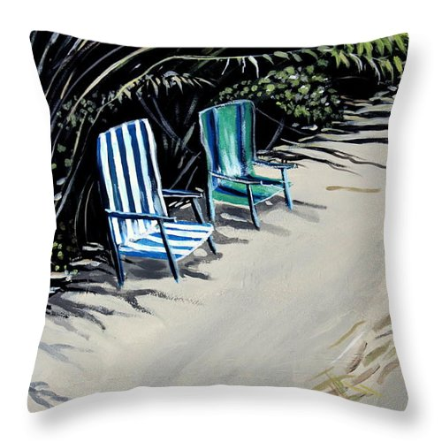 Beach Chairs Throw Pillow featuring the painting Just The Two Of Us by Elizabeth Robinette Tyndall