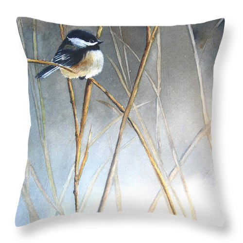 Chickadee Throw Pillow featuring the painting Just Thinking by Patricia Pushaw