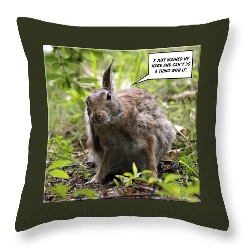 2d Throw Pillow featuring the photograph Just Washed My Hare by Brian Wallace