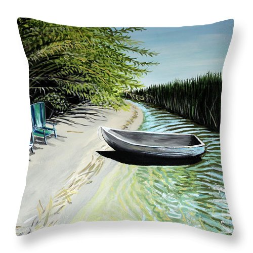 Boat Throw Pillow featuring the painting Just You And I by Elizabeth Robinette Tyndall