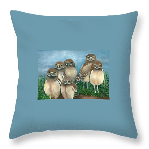 Birds Throw Pillow featuring the painting Juven Owls by Marsha Friedman
