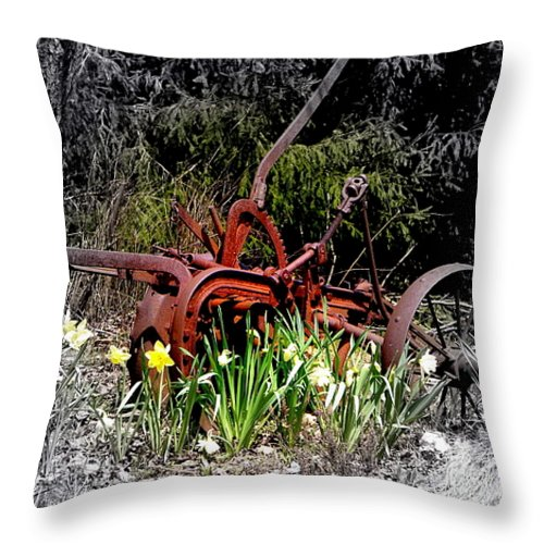 Tractor Throw Pillow featuring the photograph Juxtaposition by Priscilla Richardson