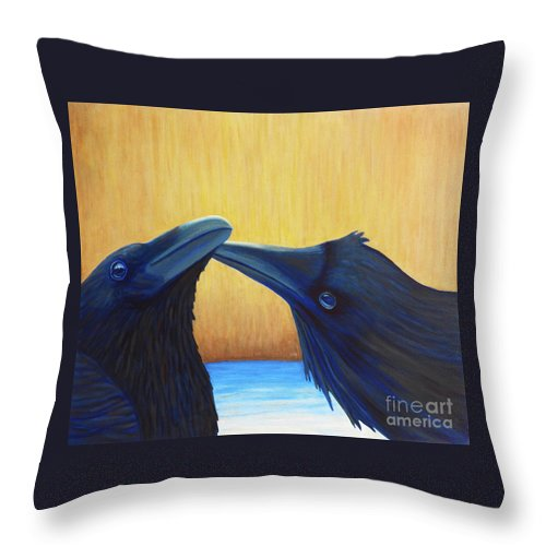 Ravens Throw Pillow featuring the painting K And B by Brian Commerford