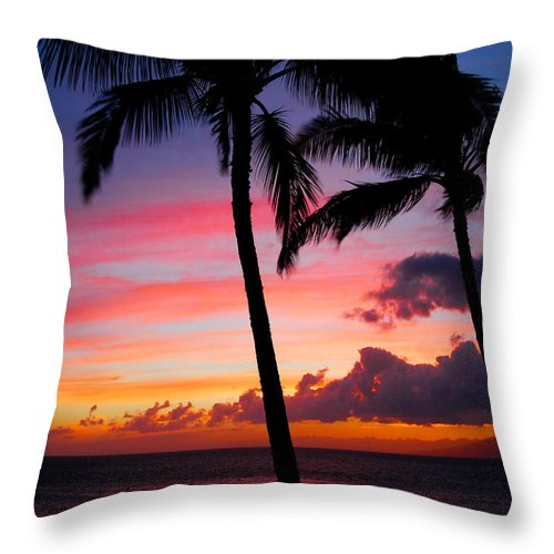 Kaanapali Sunset Throw Pillow featuring the photograph Kaanapali Sunset Kaanapali Maui Hawaii by Michael Bessler