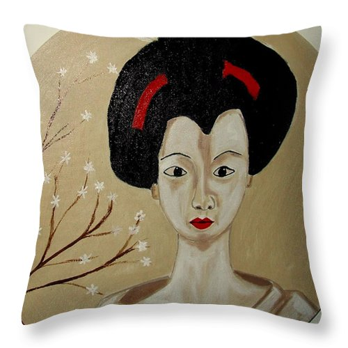Japanese Throw Pillow featuring the painting Kabuki Girl by Rusty Gladdish