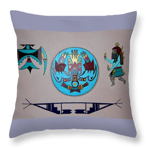 Native American Art Throw Pillow featuring the painting Kachina Dance by Marco Morales