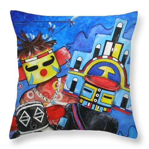 Native Throw Pillow featuring the painting Kachina Knights by Elaine Booth-Kallweit