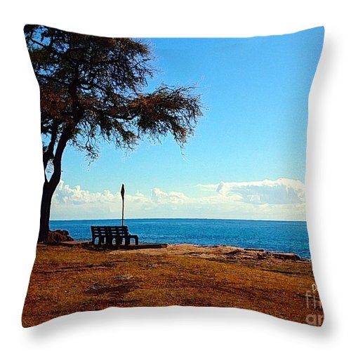 Hawaii. Oahu.west Shore Throw Pillow featuring the digital art Kahe Point Beach Park by Dorlea Ho