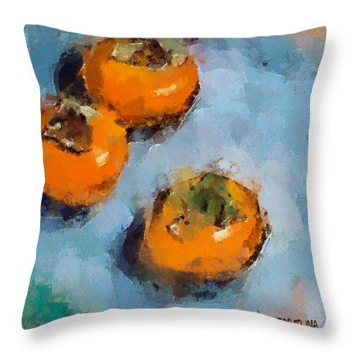 Kaki. Fruits Throw Pillow featuring the painting Kaki by Dragica Micki Fortuna