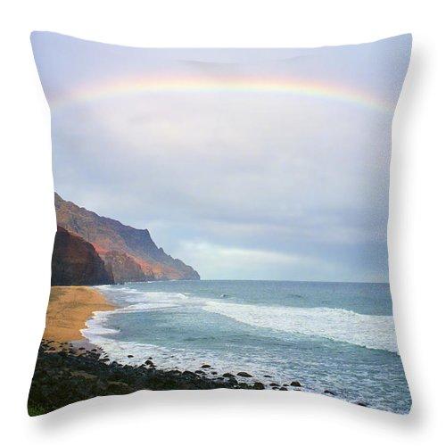 Rainbow Throw Pillow featuring the photograph Kalalau Beach Rainbow by Kevin Smith