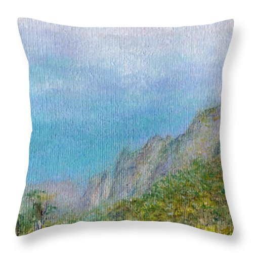 Rainbow Colors Pastel Throw Pillow featuring the painting Kalalau Mist by Kenneth Grzesik