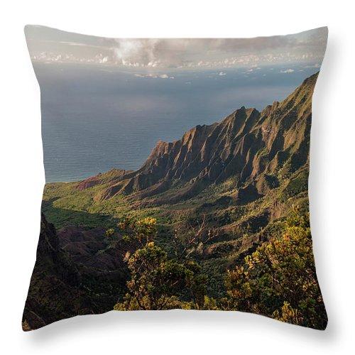 Kalalau Valley Lookout Kauai Hawaii Mountain Landscape Throw Pillow featuring the photograph Kalalau Valley 3 by Brian Harig