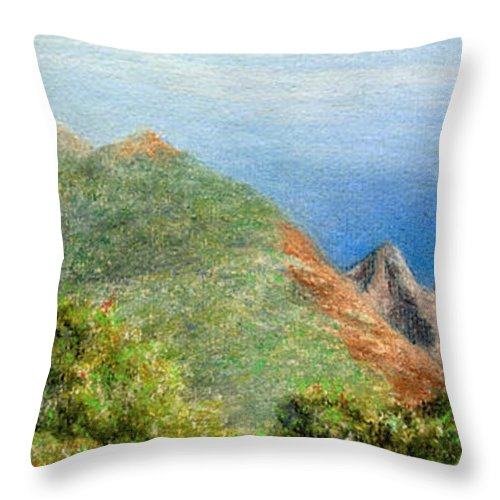 Rainbow Colors Pastel Throw Pillow featuring the painting Kalalau View by Kenneth Grzesik