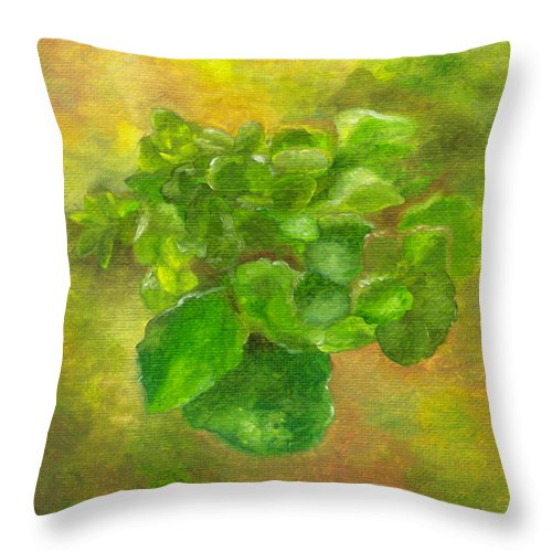Flowers Throw Pillow featuring the painting Kalanchoe by FT McKinstry