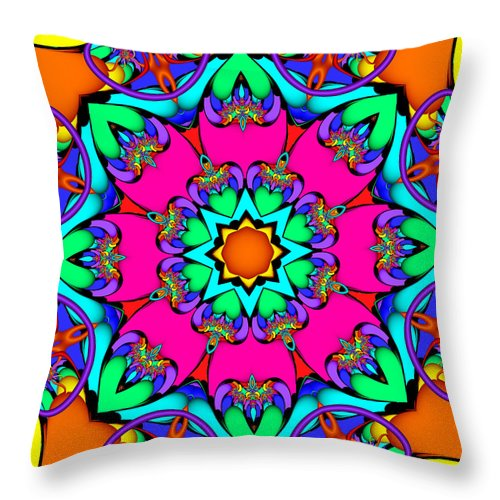 Abstract Throw Pillow featuring the digital art Kaleidoscope Flower 03 by Ruth Moratz