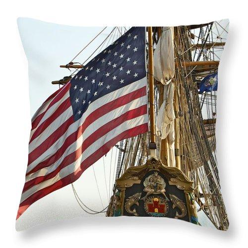 Kalmar Nyckel American Flag Tall Ship Wilmington Delaware Penns Landing Philadelphia Throw Pillow featuring the photograph Kalmar Nyckel American Flag by Alice Gipson