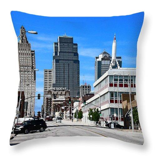 City Scape Throw Pillow featuring the photograph Kansas City Cross Roads by Steve Karol