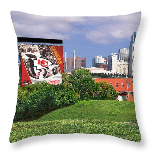 Landscape Throw Pillow featuring the photograph Kansas City Sky Line by Steve Karol