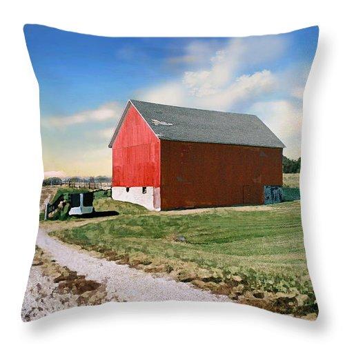 Barn Throw Pillow featuring the photograph Kansas Landscape II by Steve Karol
