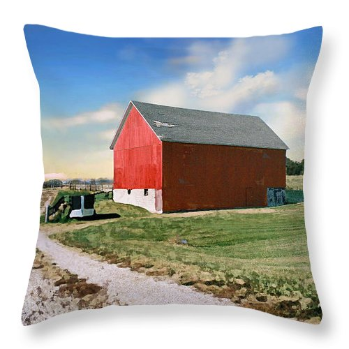 Barn Throw Pillow featuring the photograph Kansas landscape II by Steve Karol