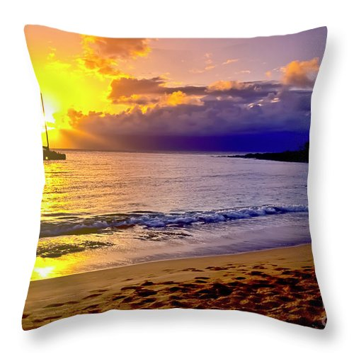 Scenics Throw Pillow featuring the photograph Kapalua Bay Sunset by Jim Cazel