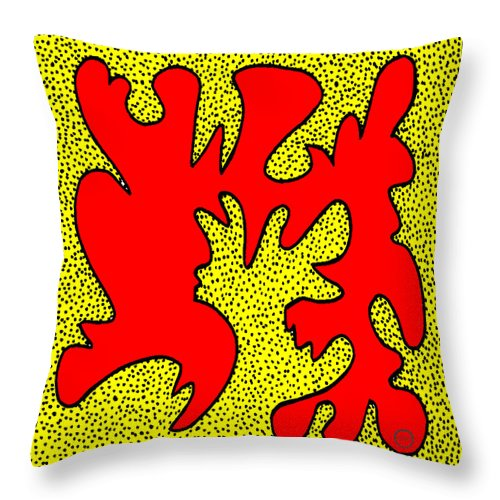 Square Throw Pillow featuring the digital art Kapow by Eikoni Images