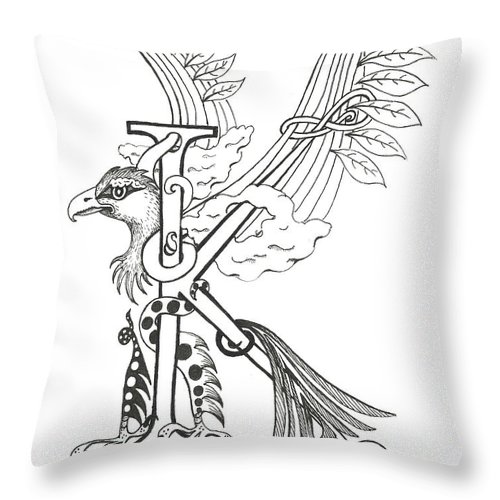 Kappa Throw Pillow featuring the drawing Kappa Eagle by Melinda Dare Benfield