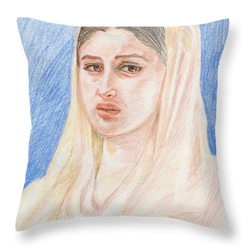 Pencil Sketch Throw Pillow featuring the painting Kareena by Asha Sudhaker Shenoy
